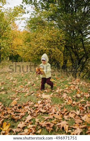 Little girl in the autumn park.with a bouquet of leaves.castle.fortress