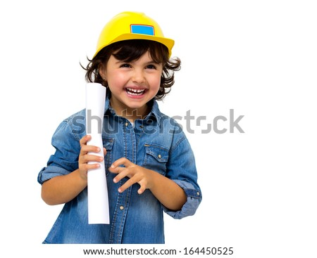 little girl in the construction helmet isolated on white - stock photo