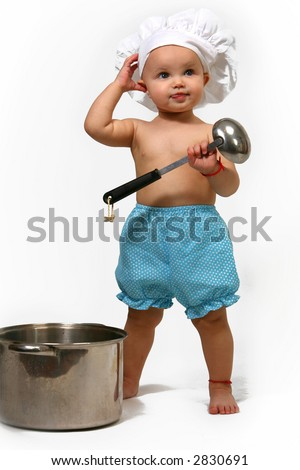 little girl in the cook hat - isolate - stock photo