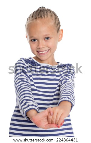 Little girl in the form of a cabin boy jokes. Girl is six years - stock photo