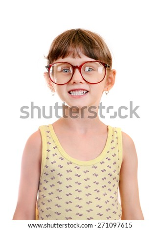 Little Girl in the Glasses Isolated on the White Background - stock photo