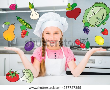 little girl in the kitchen with the flying fruits and vegetables - stock photo