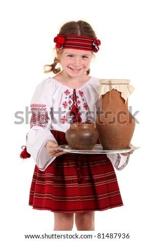 Little girl in the national Ukrainian costume on the white background - stock photo