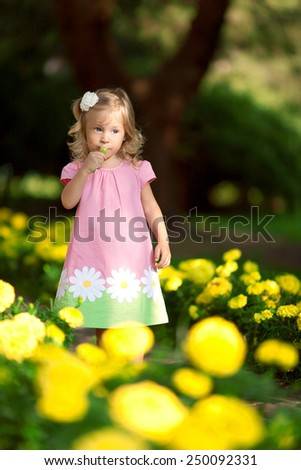 little girl in the park neat the flowers - stock photo