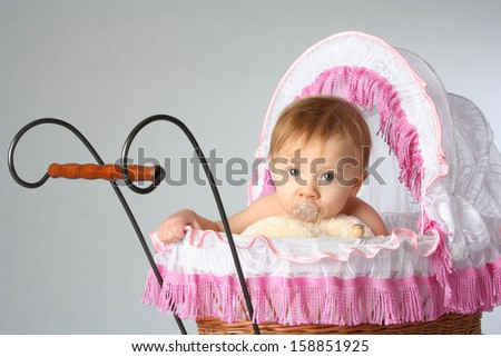 little girl in the pink pram - stock photo