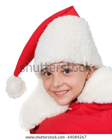 little girl in the suit of Santa claus on a white background.merry child.