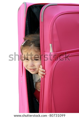 little girl in the suitcase - stock photo
