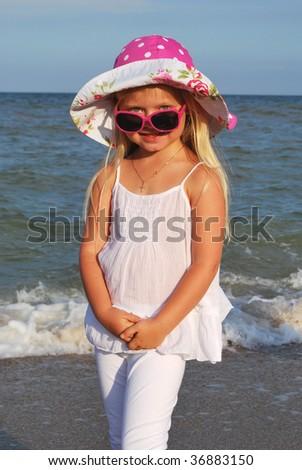 little girl in the sunglasses - stock photo