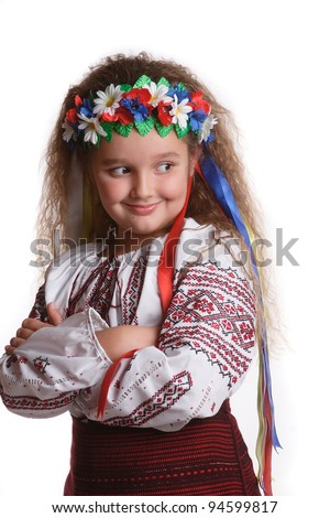 little girl in the Ukrainian national dress with yellow flowers