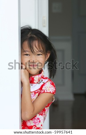 Little girl in Traditional Chinese dress - stock photo