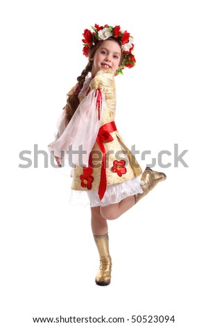 Little girl in Ukrainian national costume