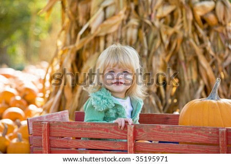 Little Girl in Wagon at the Pumpkin Patch - stock photo