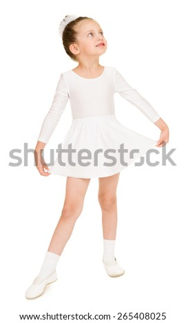 little girl in white ball gown - stock photo