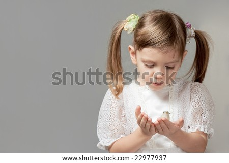 little girl in white dress looks at bird toy on her hands on grey background - stock photo
