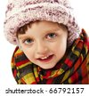 little girl in winter clothes - stock photo