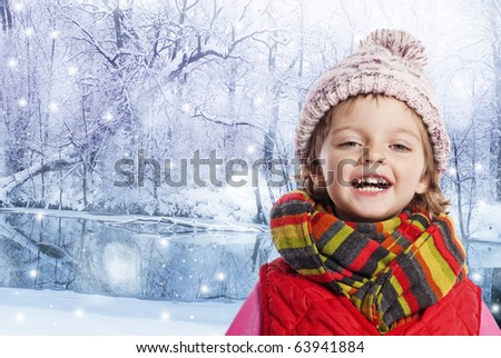 little girl in winter time