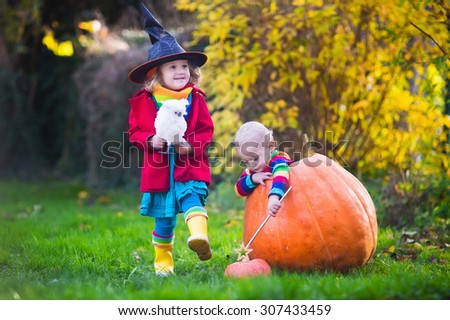 Little girl in witch costume and baby boy in huge pumpkin playing in autumn park. Kids at Halloween trick or treat. Toddler with jack-o-lantern. Children with candy bucket in forest. - stock photo