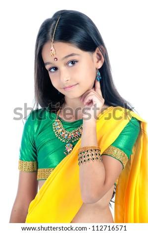 little girl Indian dancer - stock photo
