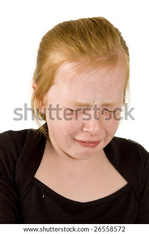 little girl is crying on white