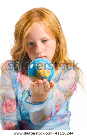 little girl is looking at the world upside down isolated on white - stock photo