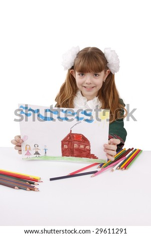 Little girl is painting her family in bright colours. Schoolgirl is  drawing  in pencil. Schoolgirl is holding the picture. Isolated over white background. - stock photo