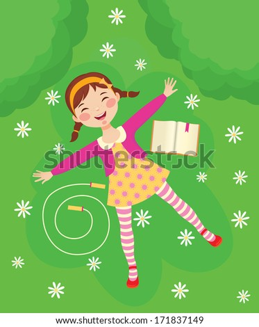 Little girl is resting on the lawn/Funny girl relaxing on green grass/Illustration of a cute little girl is resting on a green lawn - stock photo