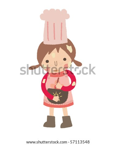 Little girl is trying to make a cake. - stock photo