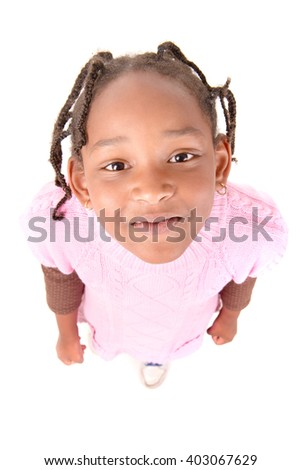 little girl isolated in white background