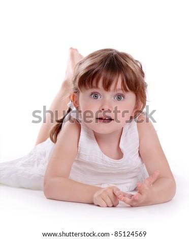 Little girl isolated on white background - stock photo