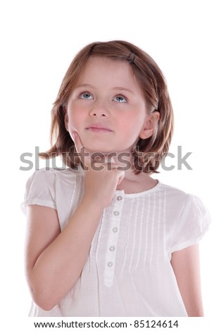 Little girl isolated on white background looking up - stock photo