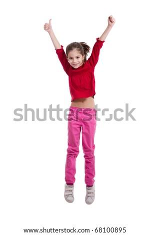 little girl jumping on white background - stock photo