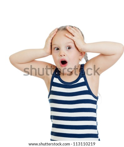Little girl kid surprised with hands on her head isolated on white background - stock photo