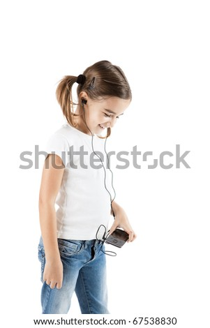 Little girl listen music with a MP3 player, isolated on white - stock photo
