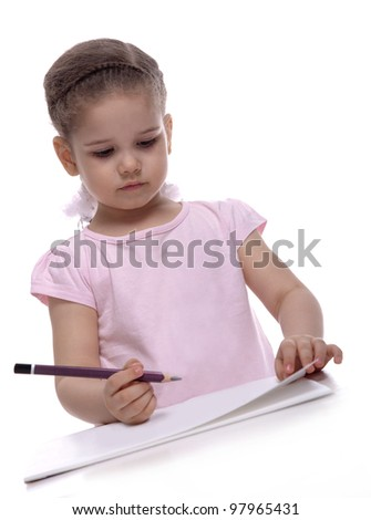 Little girl looking for a drawing concept - stock photo