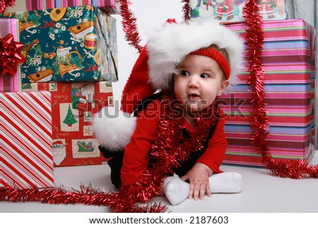 little girl looking for Santa