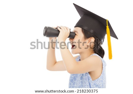 Little girl looking through binoculars. isolated on white - stock photo