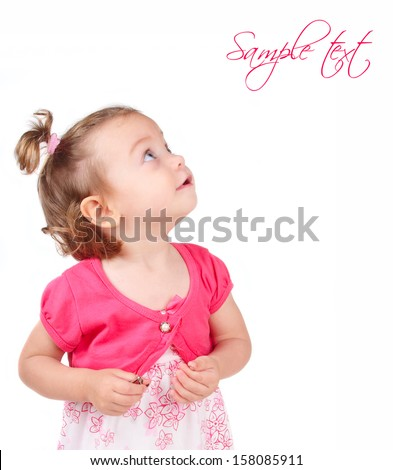 little girl looking to the side isolated on white background - stock photo