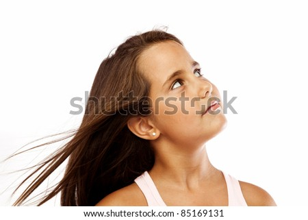 Little Girl Looking Up Isolated on White - stock photo