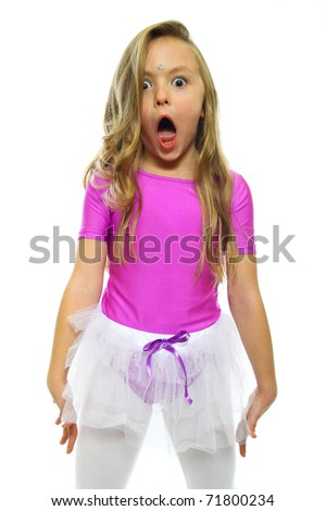Little girl making funny face isolated on white - stock photo