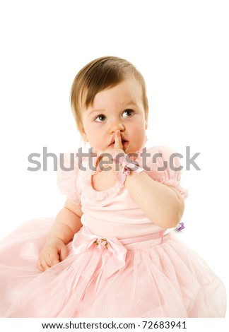 Little Girl making Silence sign isolated on white - stock photo
