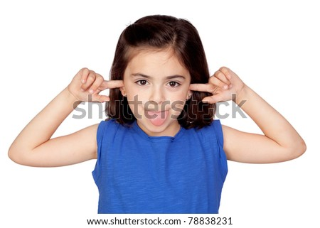 Little girl mocking isolated on a over white background - stock photo