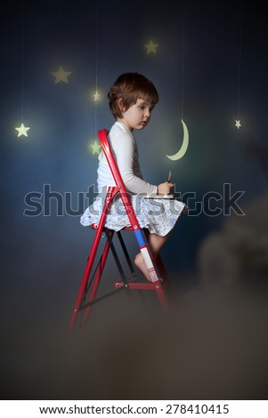 little girl on a stepladder in the sky under the stars and moon - stock photo