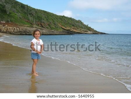 Little Girl on Beach - stock photo