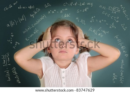 Little girl on green background - stock photo
