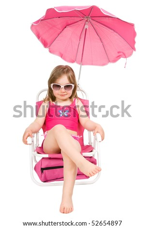 little girl on the beach isolated - stock photo