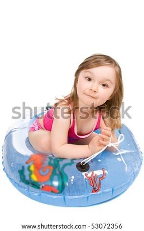 little girl on the beach isolated - stock photo