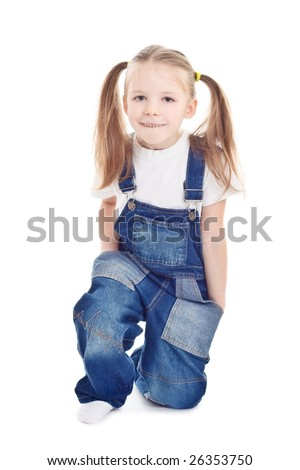 Little girl on white background - stock photo