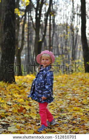 Little girl outdoors in the autumn park.