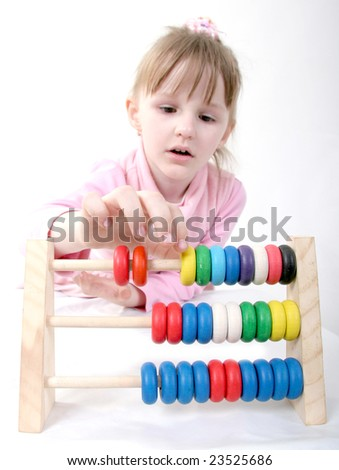 little girl play with abacus