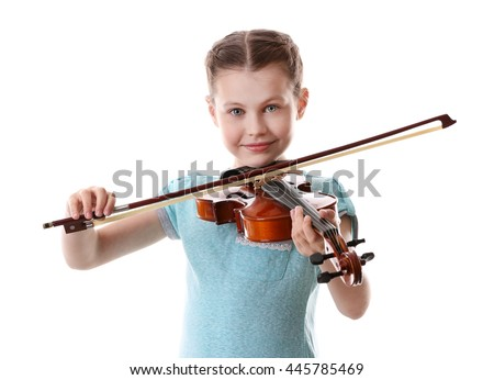 Little girl playing violin, isolated on white